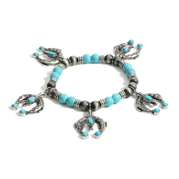 """Beaded Stretch Bracelet Featuring Horseshoe Charms and Turquoise Accents.   - Approximately 3"""" in Diameter"""