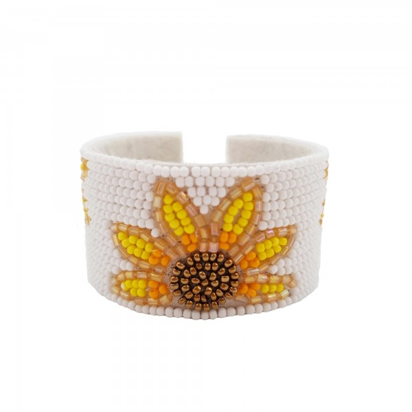 """Open-Ended Beaded Cuff Bracelet Featuring Sunflower Accents.   - Approximately 2.5"""" in Diameter"""