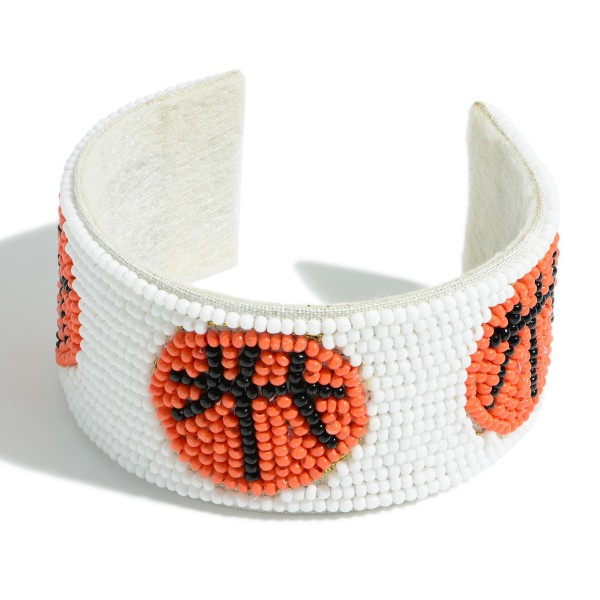 """Open-Ended Beaded Cuff Bracelet Featuring Basketball Accents.   - Approximately 2.75"""" in Diameter"""