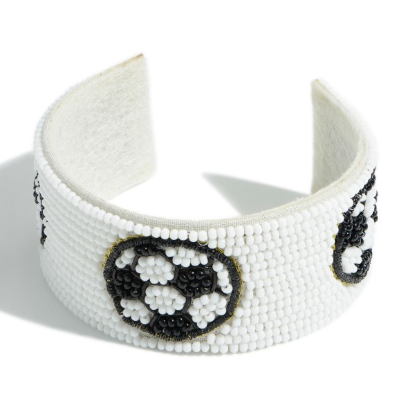 """Open-Ended Beaded Cuff Bracelet Featuring Soccerball Accents.   - Approximately 2.75"""" in Diameter"""