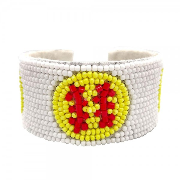"""Open-Ended Beaded Cuff Bracelet Featuring Softball Accents.   - Approximately 2.75"""" in Diameter"""