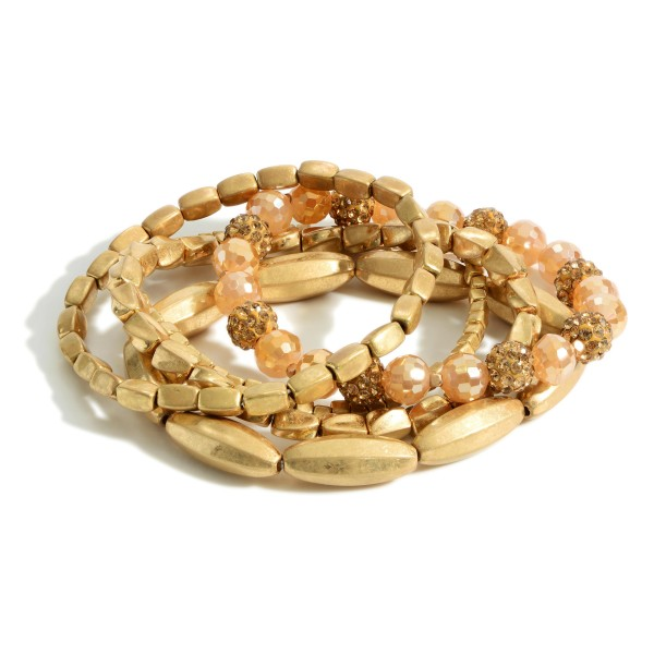 """Set of Five Gold Beaded Bracelets featuring CZ Accents.   - Approximately 2.5"""" in Diameter"""
