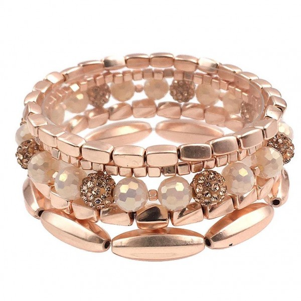 """Set of Five Worn Rose Gold Beaded Bracelets featuring CZ Accents.   - Approximately 2.5"""" in Diameter"""