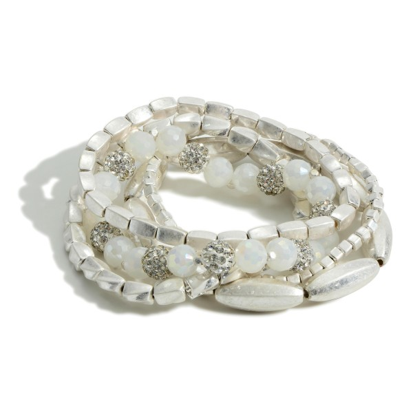 """Set of Five Worn Silver Beaded Bracelets featuring CZ Accents.   - Approximately 2.5"""" in Diameter"""