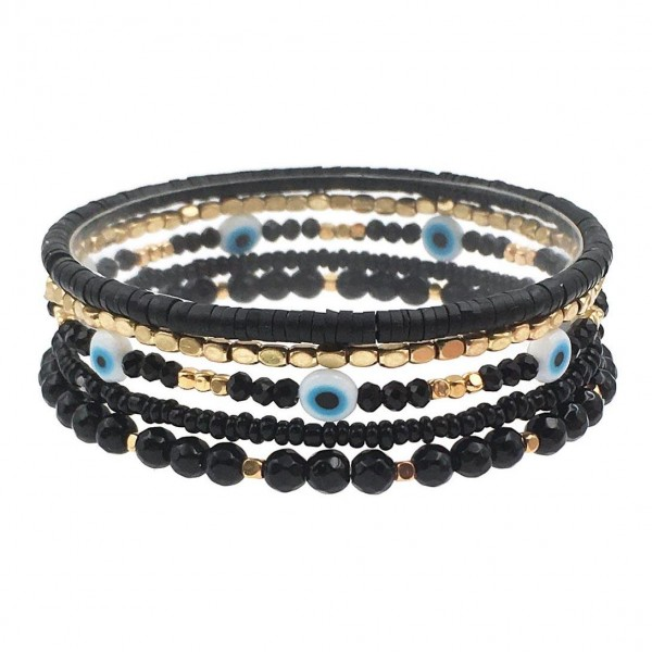 """Set of Five Beaded Bracelets Featuring Metal Accents, Heishi Beads, and Evil Eye Details.  - Approximately 2.5"""" in Diameter"""