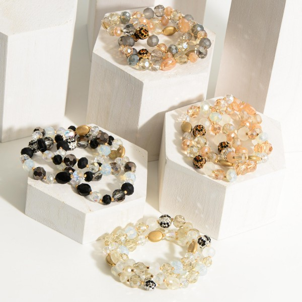 """Crystal Beaded Bracelet Set of Three featuring Leopard Print Beads.  - Approximately 2.5"""" in Diameter"""