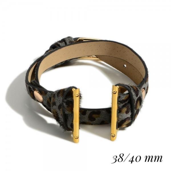 Genuine Leather Animal Print Smart Watch Band. (For Smart Watches Only)   - Smartwatch Band Fits 38-40mm Smartwatch Bands - Smartwatch Not Included
