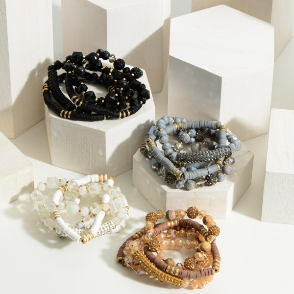 """Set of Five Beaded Bracelets featuring Heish Bead and CZ Accents.  - Approximately 2.5"""" in Diameter"""