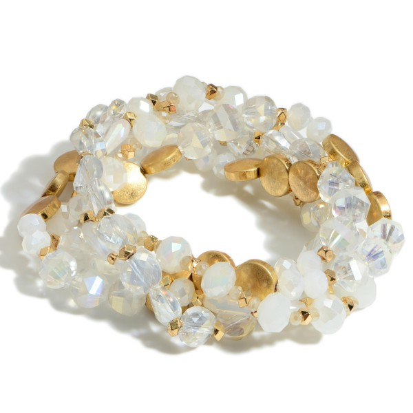 """Set of Five Beaded Bracelets Featuring Iridescent Accents and Gold Details.   - Approximately 3"""" in Diameter"""