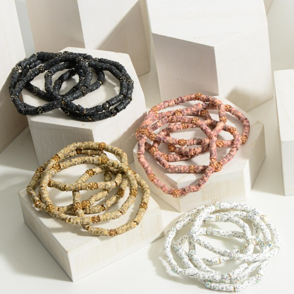 """Set of Five Heishi Bead Bracelets featuring Cubic Zirconia Accents.  - Approximately 2.5"""" in Diameter"""