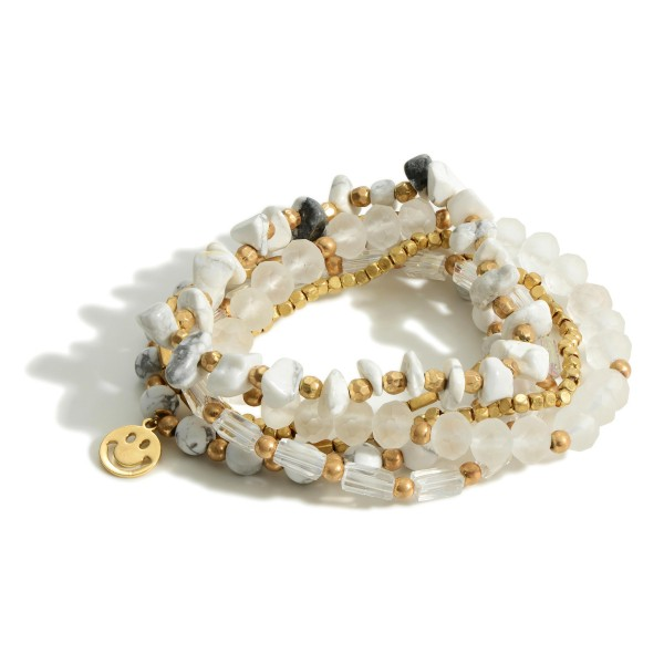 """Beaded Bracelet Set featuring Natural Stone Accents and a Smiley Face Charm.  - Approximately 2.5"""" in Diameter"""