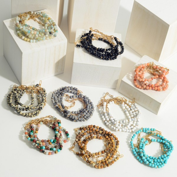 """Set of Five Beaded Natural Stone Bracelets Featuring Gold Chain Link Accents.   - Approximately 3"""" in Diameter"""