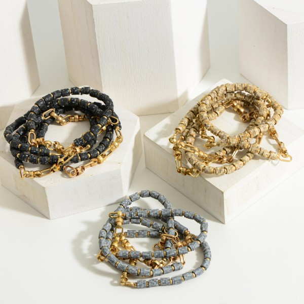 """Set of Five Heishi Bead Bracelets featuring Gold Chain Accents.  - Approximately 2.5"""" in Diameter"""
