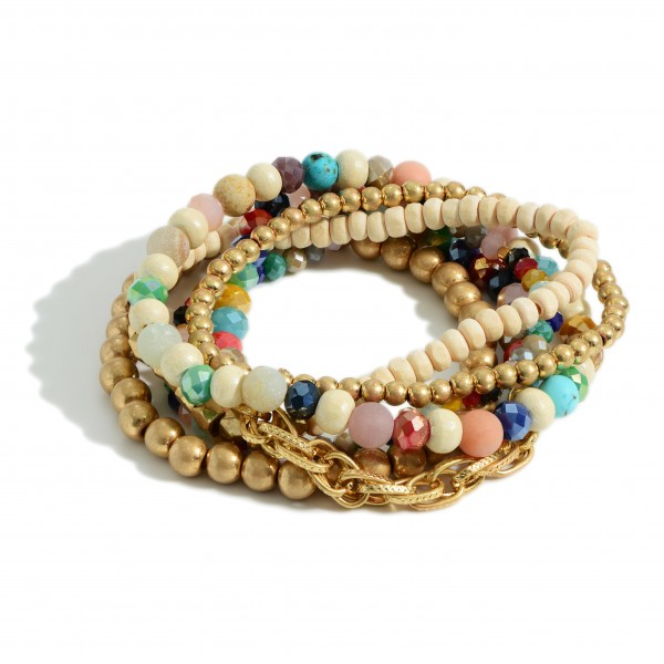 """Set of Six Beaded Stretch Bracelets Featuring Iridescent Beads and Gold Accents.   - Approximately 3"""" in Diameter"""