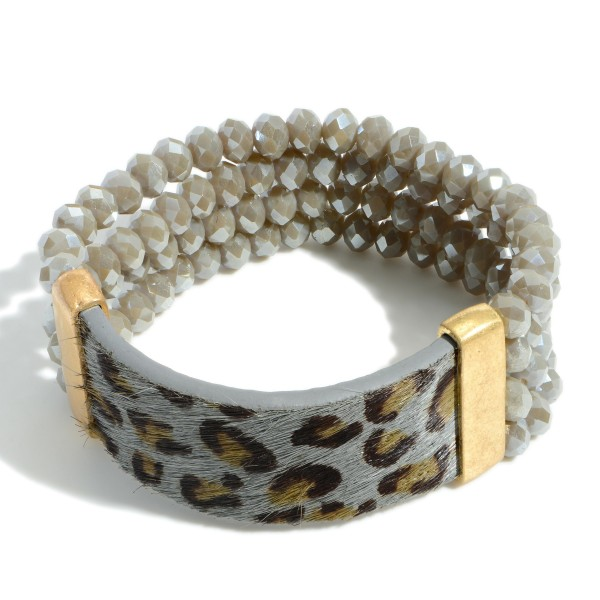 """Beaded Bracelet Featuring Leopard Print Accents.   - Approximately 3"""" in Diameter"""