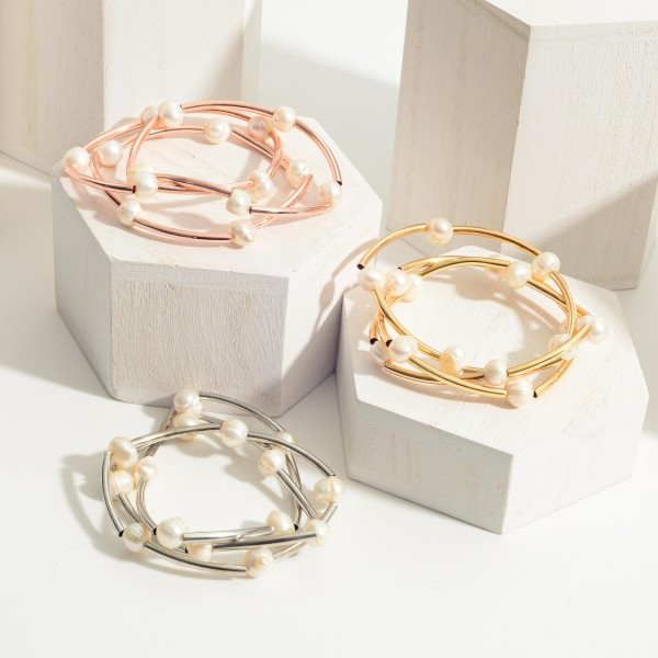 """Set of Three Metal Bracelets Featuring Faux Pearl Accents.   - Approximately 3"""" in Diameter"""