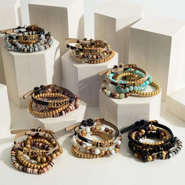 """Beaded Bracelet Set of Four featuring a Leather Bracelet that says """"Blessed"""".  - Approximately 3"""" in Diameter"""