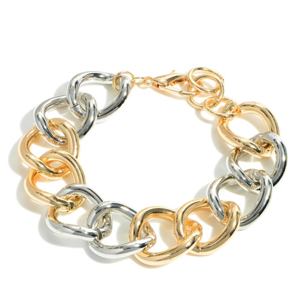 "Two-Tone Metal Chain Bracelet.   - Approximately 3"" in Diameter"