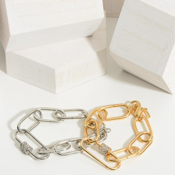 """Metal Chain Link Bracelet Featuring Pave Rhinestone Accents.   - Approximately 2.5"""" in Diameter"""