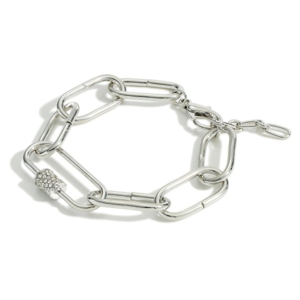 "Metal Chain Link Bracelet Featuring Pave Rhinestone Accents.   - Approximately 2.5"" in Diameter"