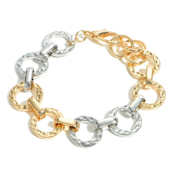 "Two-Tone Chain Link Bracelet.   - Approximately 2.5"" in Diameter"