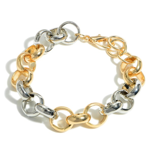 "Two-Tone Metal Chain Link Bracelet.   - Approximately 2.5"" in Diameter"