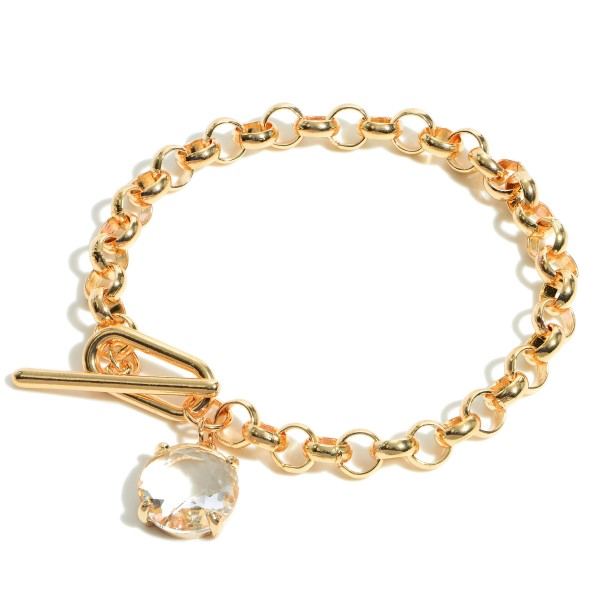 "Metal Chain Link Bracelet Featuring Crystal Pendant and Toggle Closure.   - Approximately 2.5"" in Diameter"