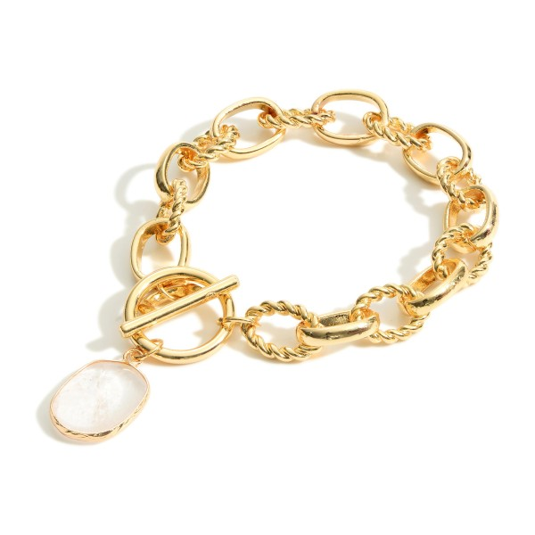"""Chain Link Bracelet Featuring Toggle Clasp and Natural Stone Pendant.   - Approximately 3"""" in Diameter"""
