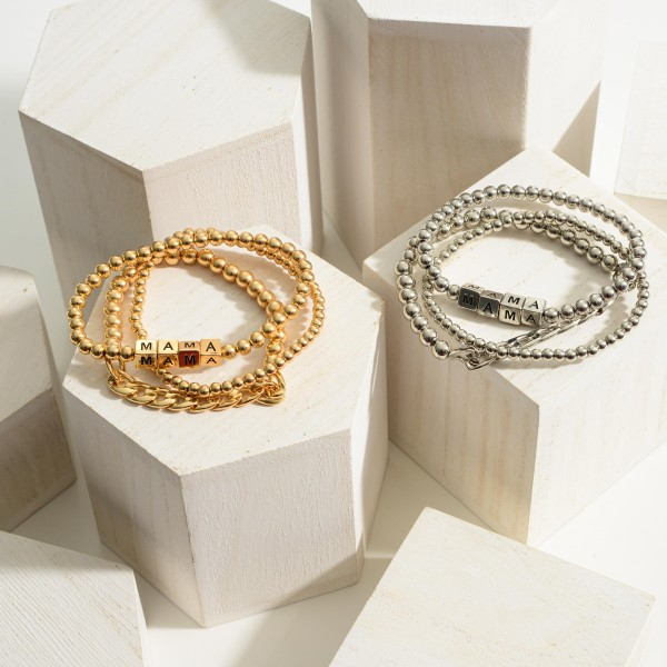 """Set of Three Metal Bracelets featuring Block Letters that Say """"Mama"""".  - Approximately 2.5"""" in Diameter"""