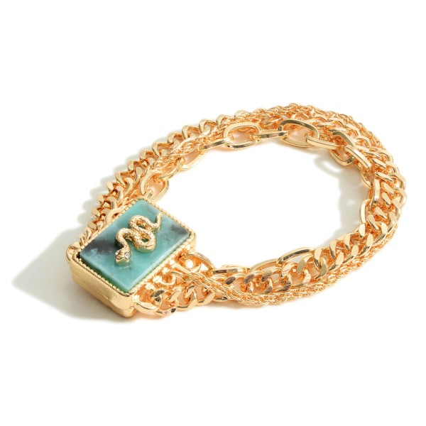 """Gold Beaded/Chain Link Bracelet Featuring a Natural Stone Snake Pendant.  - Approximately 2.5"""" Diameter - Magnetic Closure"""