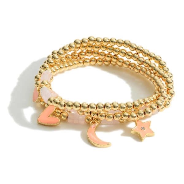 """Set of Four Gold Charm Bracelets featuring Beaded Accents.  - Approximately 2.5"""" in Diameter"""