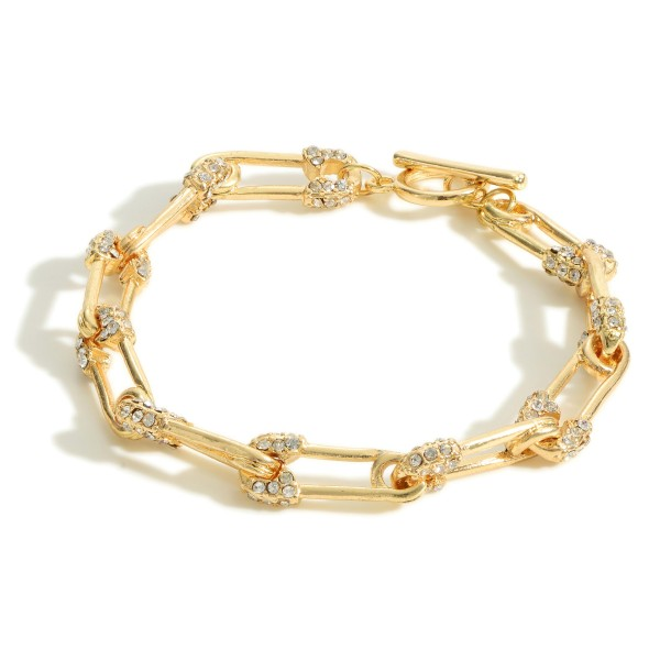 """Gold Chain Bracelet Featuring CZ Accents.  - Approximately 2.5"""" in Diameter"""