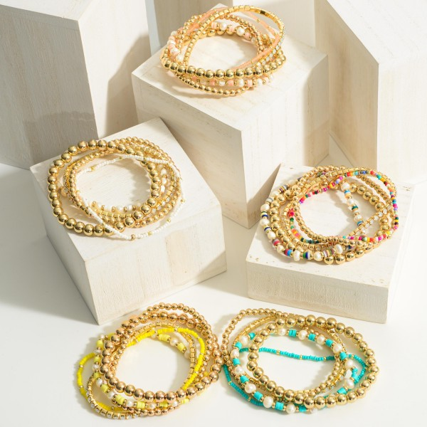 """Set of Five Beaded Bracelets featuring Pearl and Heishi Bead Accents.   - Approximately 2.5"""" in Diameter"""