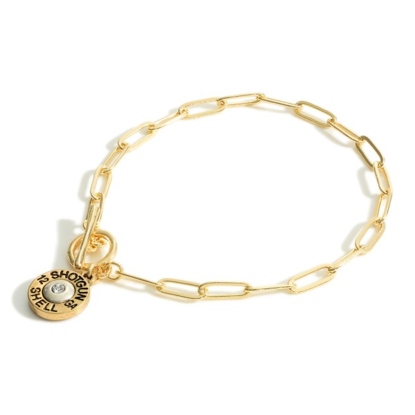 """Gold Chain Link Bracelet Featuring Toggle Closure and Shotgun Shell Pendant.   - Approximately 3"""" in Diameter"""