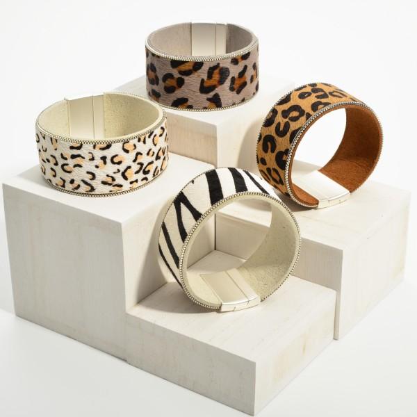 "Animal Print Magnetic Bracelet.   - Approximately 3.5"" in Diameter"