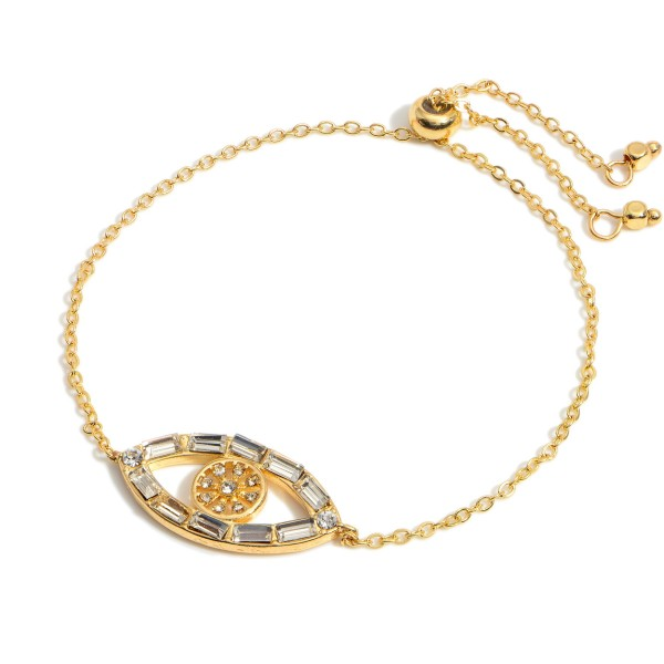 """Gold Chain Evil Eye Bracelet featuring Crystal Accents.   - Approximately 2.5"""" in Diameter"""