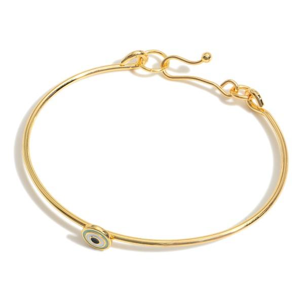 "Gold Tone Evil Eye Dainty Bracelet.   - Approximately 2.5"" in Diameter"