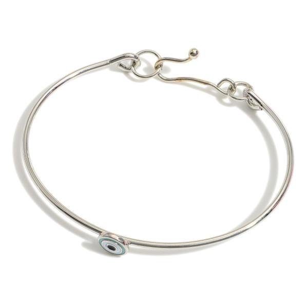 "Silver Tone Evil Eye Dainty Bracelet.   - Approximately 2.5"" in Diameter"