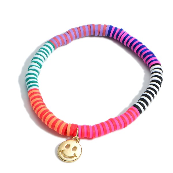 """Heishi Bead Stretch Bracelet featuring a Smiley Face Charm.   - Approximately 2.25"""" in Diameter"""