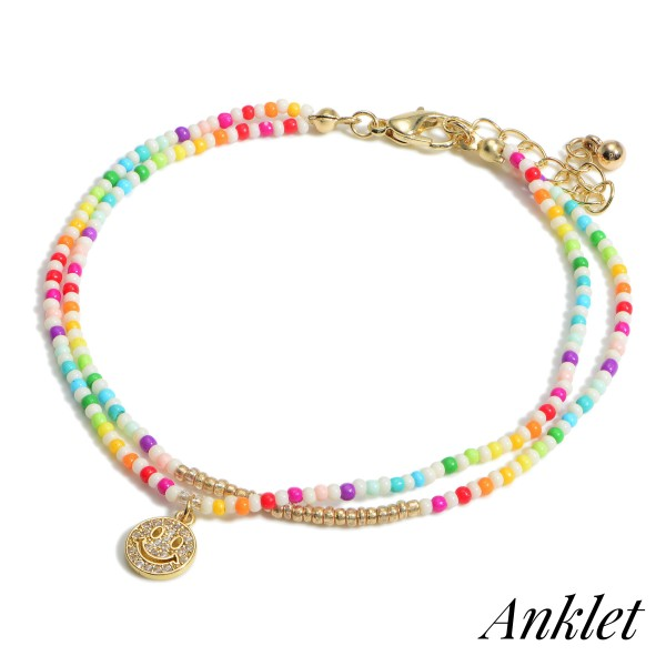 """Layered Beaded Anklet Featuring CZ Smiley Face Charm.  - Approximately 3"""" in DIameter - Extender 1.5"""" in Length"""
