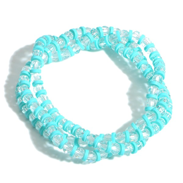 """3 PC Crystal Beaded Stretch Bracelet Set featuring Heishi Bead Accents.  - 3 PC Per Set - Approximately 2.5"""" in Diameter"""