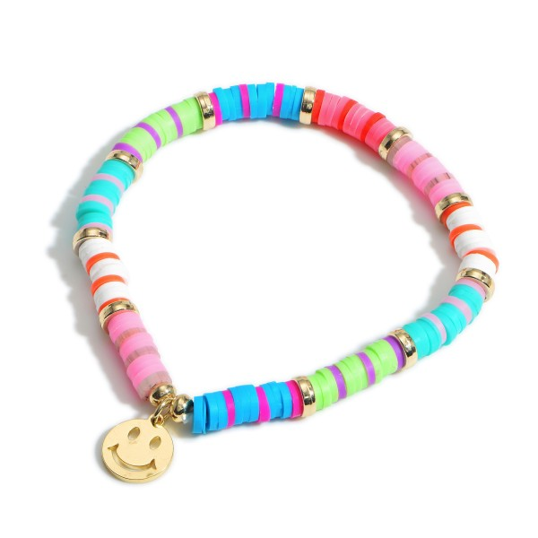 """Heishi Bead Bracelet Featuring Smiley Face Charm.   - Approximately 2.5"""" in Diameter"""