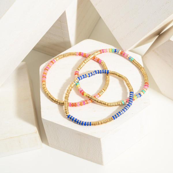 "Simple Gold Heishi Bead Bracelet.  - Approximately 2"" in Diameter"