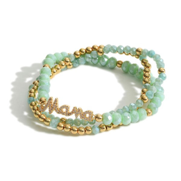 """Set of Three Beaded Bracelets Featuring a Charm that Says """"Mama"""".   - Approximately 2.5"""" in Diameter"""