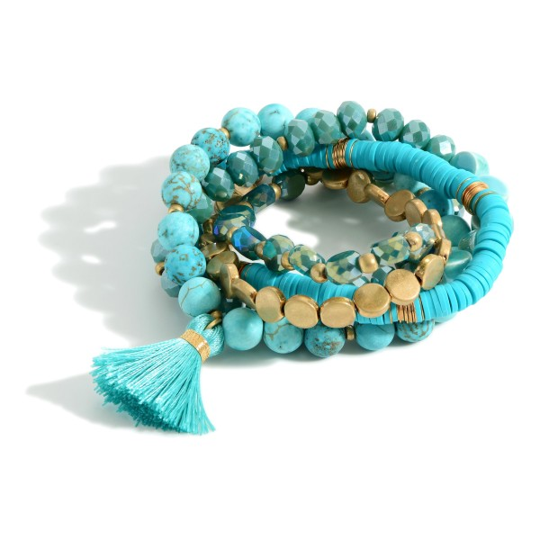 """Beaded Stack Bracelet featuring heishi beads and natural stones.  -5pcs/set -Approximately 3"""" in diameter"""