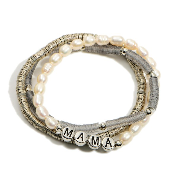 """Set of Three Heishi Bead Bracelets Featuring Beads that say """"Mama"""" and Pearl Accents.  - Approximately 2.5"""" in Diameter"""