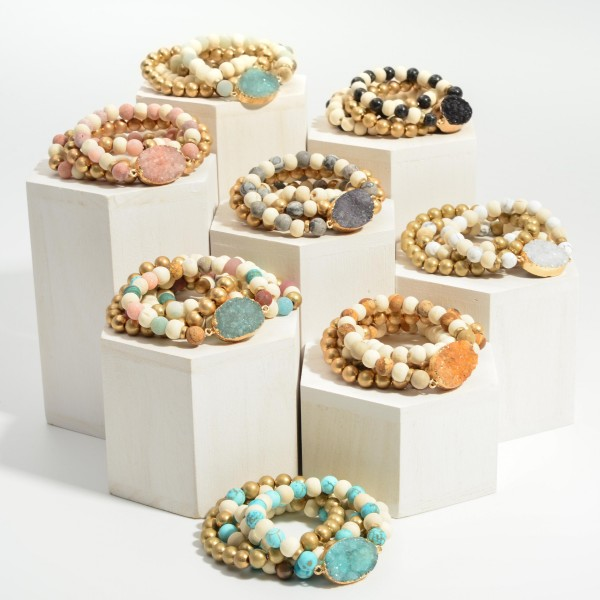 """Set of Five Wooden Beaded Bracelets Featuring Druzy Accents.  - Approximately 2.5"""" in Diameter"""