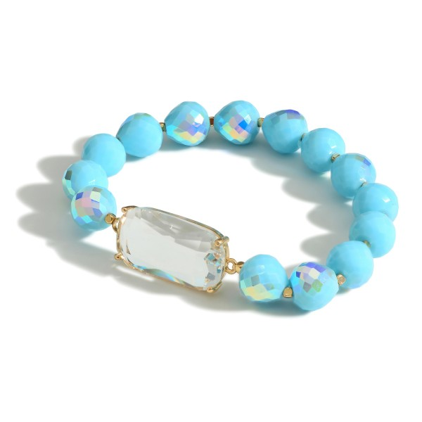 """Beaded Stretch Bracelet with Center Stone and Gold Accents  -Approximately 3"""" in diameter"""