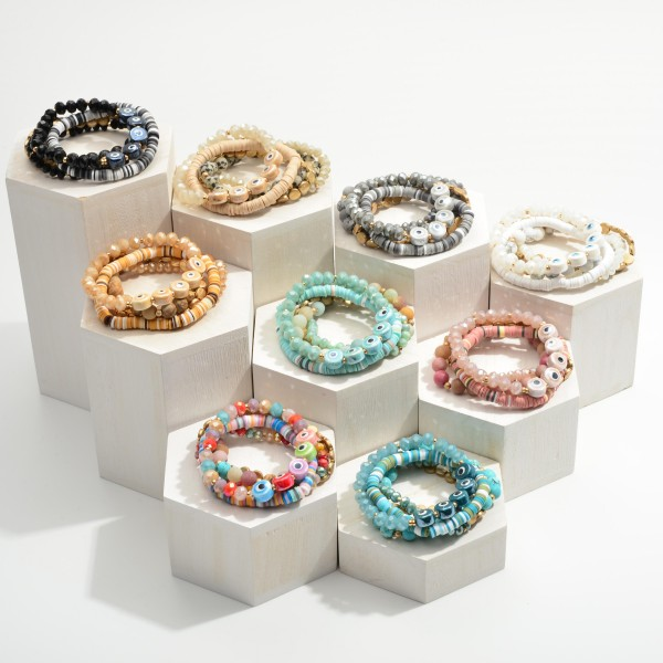 """Set of Five Beaded Bracelets Featuring Evil Eye Accents.  - Approximately 2.5"""" in Diameter"""
