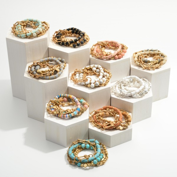"""Set of Five Beaded Bracelets Featuring Metal Chain Accents.  - Approximately 2.5"""" in Diameter"""
